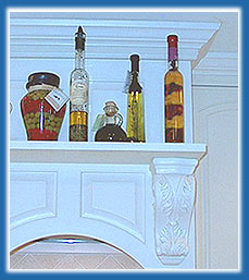 Decorative image of cabinetry and olive oils