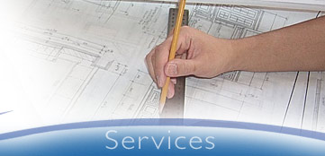 Services Section with architectural drawing background image