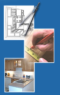 3 decorative images 1. kitchen drawing 2. measuring tape 3. kitchen